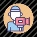 camera, camera operator, cinematographer, operator icon