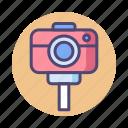 camera, camera tripod, selfie stick, tripod