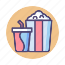 cinema, movie, popcorn, snack, soda icon