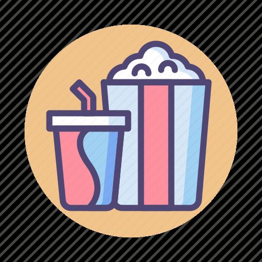 cinema, movie, popcorn, snack, soda icon