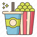 drink, food, popcorn, soda icon