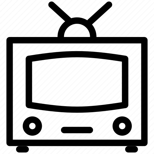 antenna, audio, cinema, creative, entertainment, film, grid, line, media, monitor, movie, music, old, old-tv, screen, shape, speaker, television, tv, video icon
