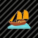 boat, cartoon, sail, sea, ship, thai, vietnam icon