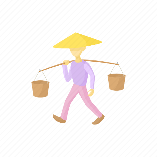 asian, bucket, cartoon, hat, man, traditional, vietnam icon