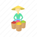 bucket, business, cartoon, fruit, male, man, people icon