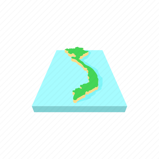 cartography, cartoon, country, geography, map, outline, vietnam icon