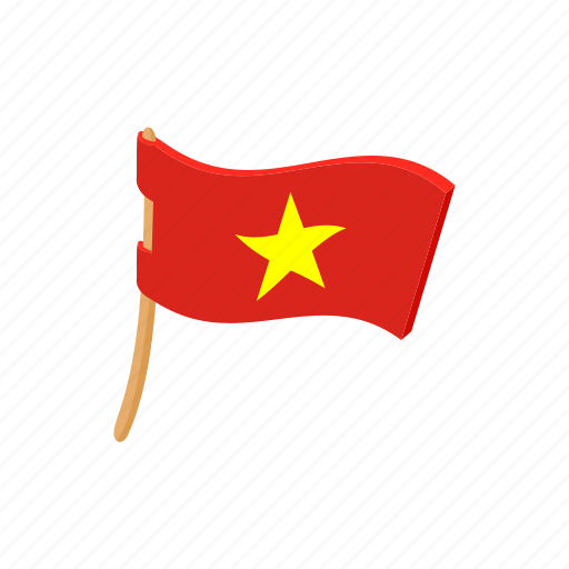 cartoon, country, flag, nation, national, sign, vietnam icon