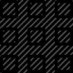 boxes, formation, grid, keypad, thumbnail, thumbnails icon