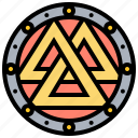 amulet, ancient, norse, valknut icon