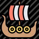 boat, longship, norway, scandinavia, viking icon