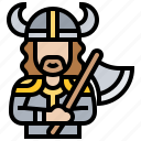 barbarian, medieval, norseman, viking, warrior icon