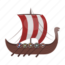 accessories, ancient, attributes, boat, sail, ship, vikings icon