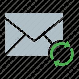 arrow, email, envelope, send, sync icon