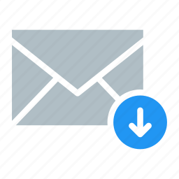 arrow, down, email, envelope, send icon