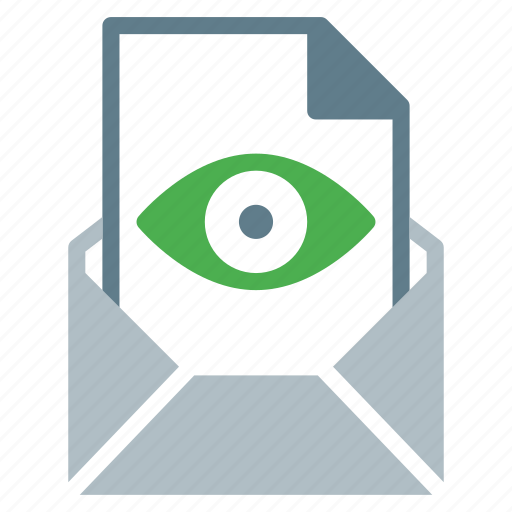 attachment, email, eye, file, send, view icon