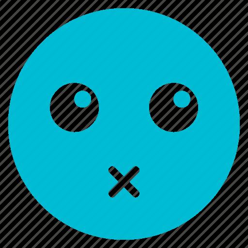 avatar, emoticon, emotion, expression, face, lips, sealed icon