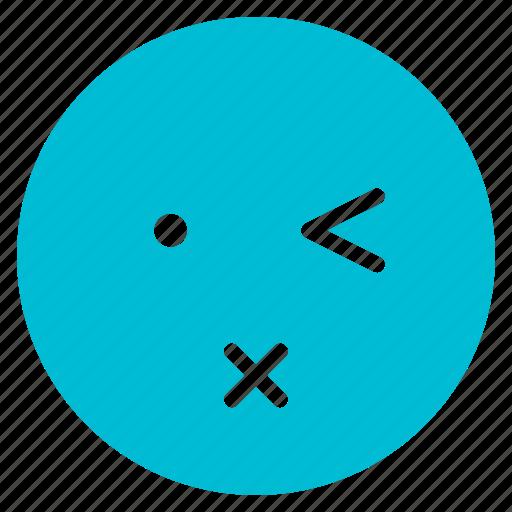 avatar, emoticon, emotion, face, lips, sealed, wink icon