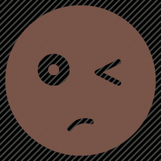 avatar, emoticon, emotion, expression, face, unsure, wink icon