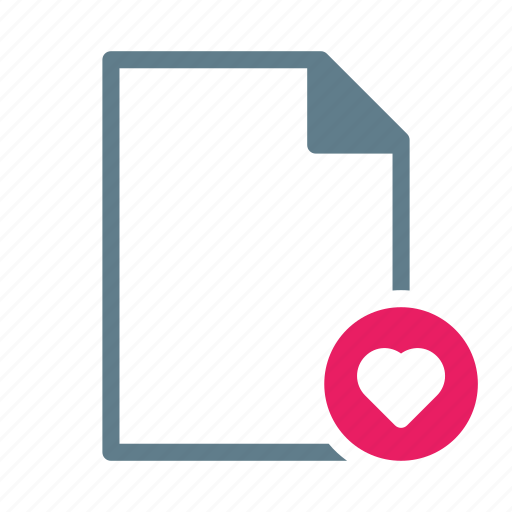 doc, document, favourited, file, heart, text icon