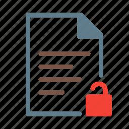 doc, document, file, lock, text, unlock icon