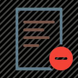 delete, doc, document, file, minus, text icon