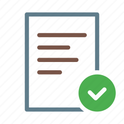 checkmark, document, done, file, selected, text icon
