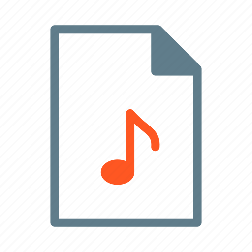 document, file, mp3, music, note, wma icon