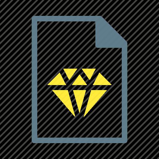 diamond, doc, document, file, sketch icon