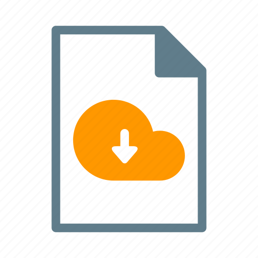 arrow, cloud, document, download, file, text icon