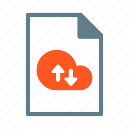 arrow, cloud, document, file, text icon