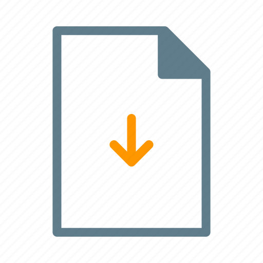 arrow, document, download, file, text icon