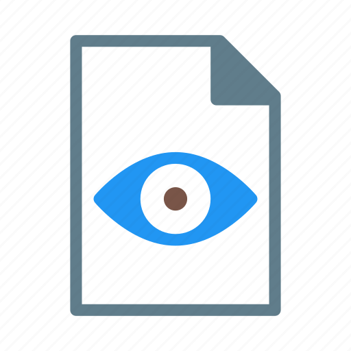 document, eye, file, readonly, text, view icon