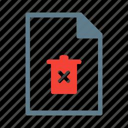 delete, document, file, remove, text, trash icon