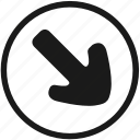 arrow, bottom, navigation, right, round icon