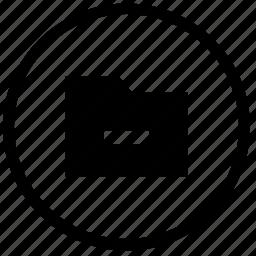atm, cut, delete, erase, folder, minus, round icon