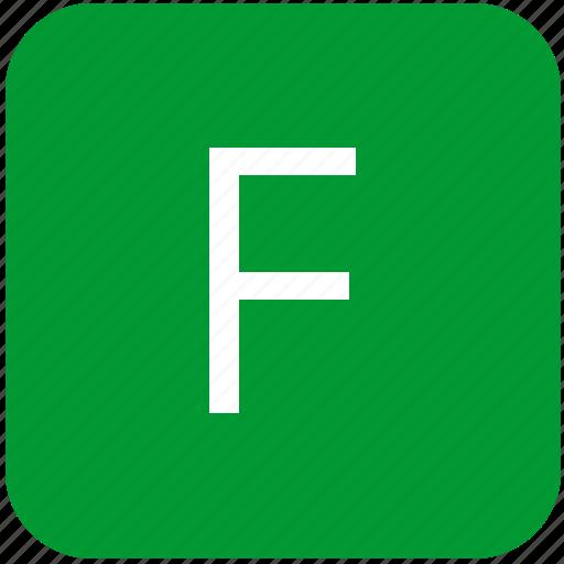 f, green, keyboard, keypad, letter, uppercase icon