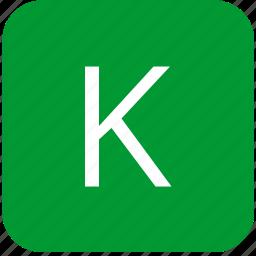 green, k, keyboard, keypad, letter, select, uppercase icon
