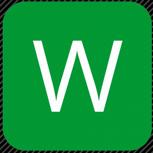 green, keyboard, keypad, select, uppercase, w icon