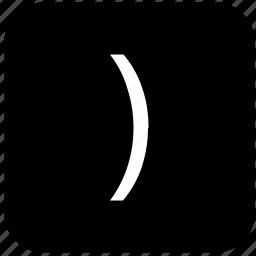 bracket, function, keyboard, keypad, math, right icon