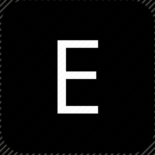 e, keypad, latin, letter, uppercase icon