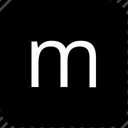 keypad, latin, letter, lowcase, m icon