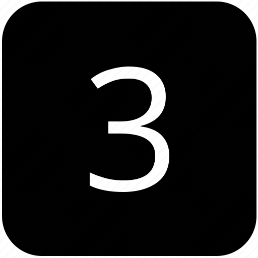 keypad, number, third, three icon