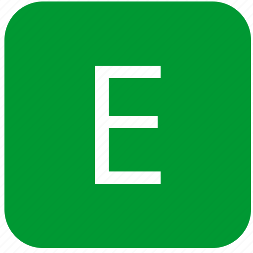 e, green, keyboard, keypad, letter, select, uppercase icon