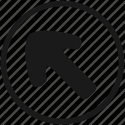 arrow, atm, left, navigation, round, top icon