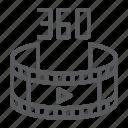 panoramic, play, rotation, video, view