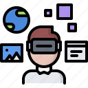 3d, glasses, interface, man, reality, virtual, vr icon