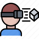 3d, cube, glasses, man, reality, virtual, vr icon