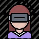 3d, glasses, head, reality, turn, virtual, vr, woman