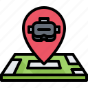3d, glasses, location, map, pin, reality, virtual, vr icon