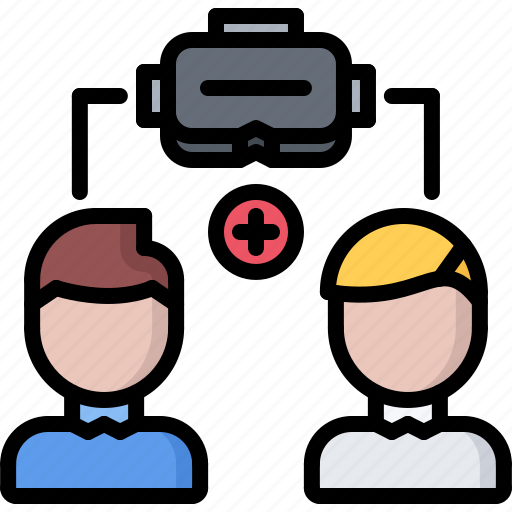 3d, cooperative, glasses, man, reality, virtual, vr icon